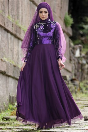 Evening Dress - Tulle - Sequins - Full Lined - High Collar - Purple - NBK123