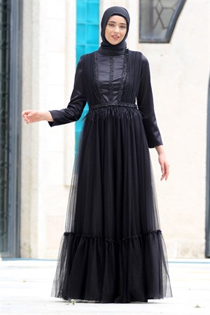 Evening Dress - Tulle - Sequins - Full Lined - High Collar - Black - NBK138