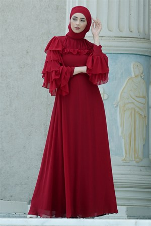 Evening Dress - Tulle - Sequins - Full Lined - High Collar - Claret Red - NBK140