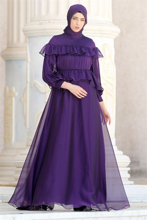 Evening Dress - Tulle - Sequins - Full Lined - High Collar - Purple - NBK140