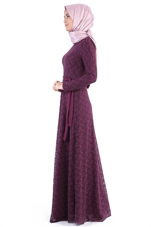 Dress - Lace - Full Lined - High Collar - Plum - FHM412