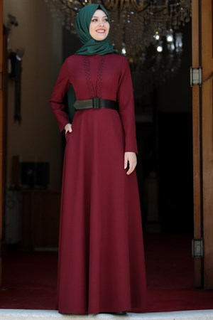 Dress - Crepe - Unlined - High Collar - Claret Red - SD20