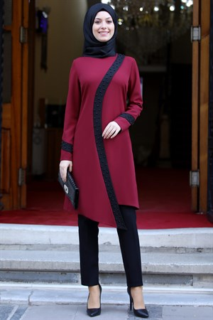 Tunic - Pants - 2 Piece Suit - Crepe - Unlined - Crew Neck - Claret Red - SD24