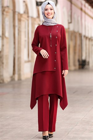Tunic - Pants - 2 Piece Suit - Crepe - Unlined - Crew Neck - Claret Red - SD40