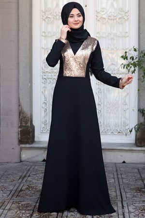 Evening Dress - Crepe - Sequin - Un Lined - High Collar - Black-Copper - SMY10