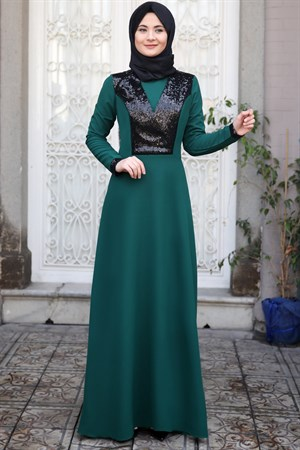 Evening Dress - Crepe - Sequin - Un Lined - High Collar - Emerald - SMY10