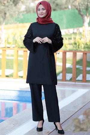 Pants - Tunic - Crepe - Unlined - Crew Neck - Black - SMY110
