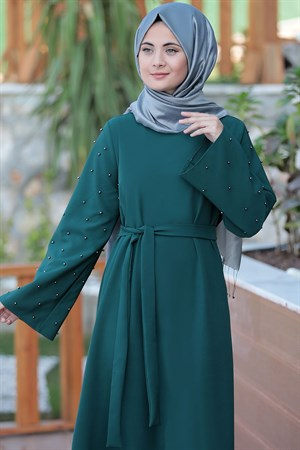 Dress - Crepe - Unlined - Crew Neck - Green - SMY112