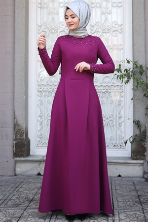Evening Dress - Crepe - Pearl - Un Lined - High Collar - Fuchsia - SMY16
