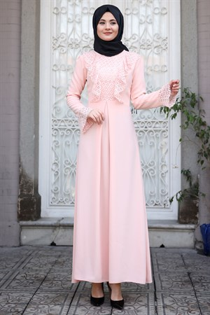 Dress - Lace - Full Lined - High Collar - Powder - SMY20
