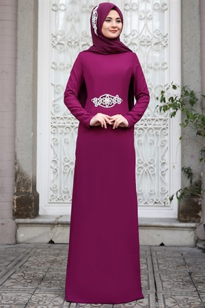 Evening Dress - Crepe - Chiffon - Pearl - Un Lined - High Collar - Fuchsia - SMY26