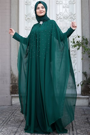 Evening Dress - Crepe - Chiffon - Pearl - Un Lined - High Collar - Emerald - SMY26
