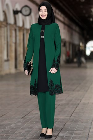 Tunic - Pants - 2 Piece Suit - Crepe - Unlined - Crew Neck - Emerald Green - SN28