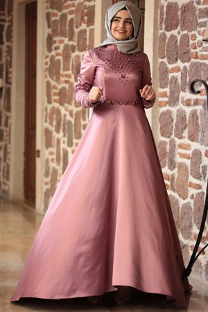 Evening Dress - Taffeta - Full Lined - High Collar - Pale Pink - SMY66