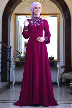 Evening Dress - Crepe - Full Lined - High Collar - Fuschia - FRH03