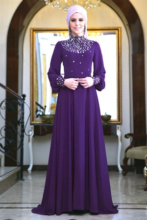 Evening Dress - Crepe - Full Lined - High Collar - Purple - FRH03