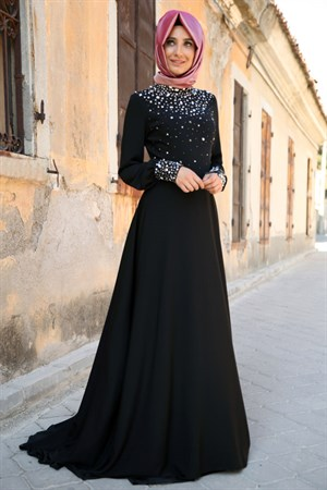 Evening Dress - Crepe - Full Lined - High Collar - Black - FRH03