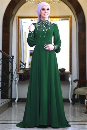 Evening Dress - Crepe - Full Lined - High Collar - Emerald Green - FRH03