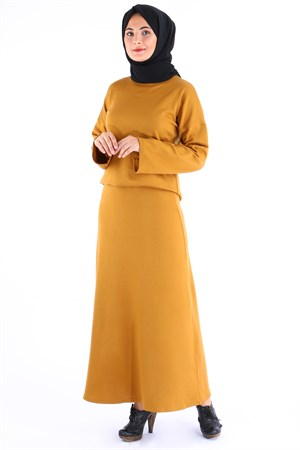 Tunic - Skirt - Knitwear - Unlined - Crew Neck - Mustard - TN110 - 4994016