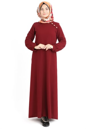 Dress - Unlined - Crew Neck - Claret Red - TN253 - 5424006
