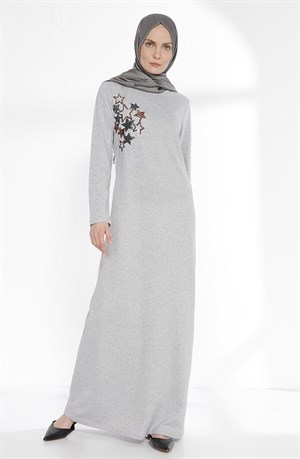 Dress - Unlined - Crew Neck - Grey - TN260 - 4674007