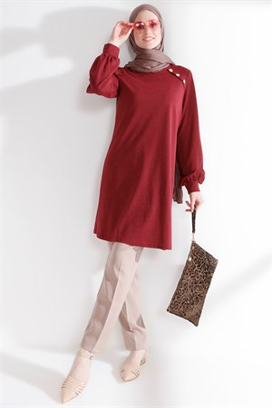 Tunic - Button - Claret Red - TN266 - 5424002