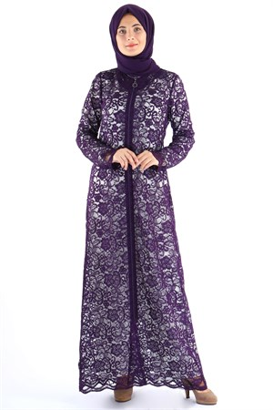 Abaya - Lace - Unlined - Crew Neck - Purple - TN282 - 5194003