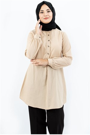 Tunic - Cotton - Unlined - Crew Neck - Beige- TN304 - 4034022