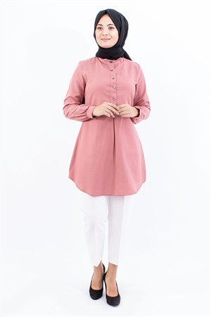 Tunic - Cotton - Unlined - Crew Neck - Pale Pink- TN304 - 4034022