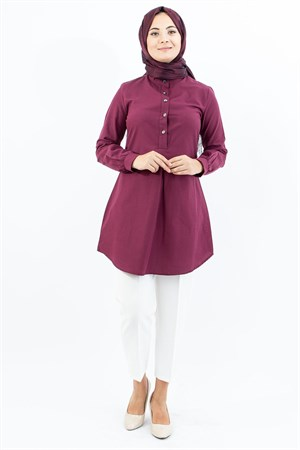 Tunic - Cotton - Unlined - Crew Neck - Plum- TN304 - 4034022