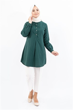 Tunic - Cotton - Unlined - Crew Neck - Emerald Green- TN304 - 4034022