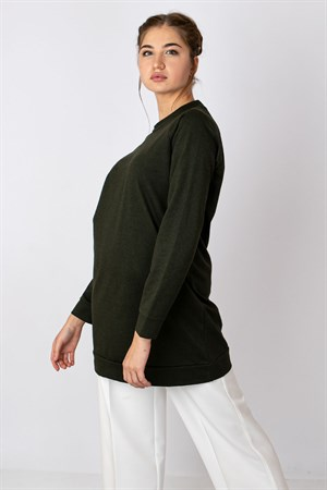 Tunic - Poly Cotton - Unlined - Crew Neck - Khaki - TN310