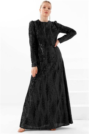 Dress - Sequin - Crew Neck - Black - TN328