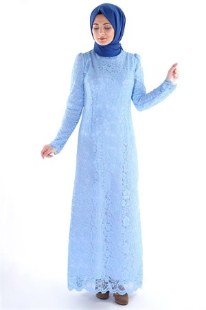 Dress - Lace - Full Lined - High Collar - Baby Blue - TN33 - 3424009
