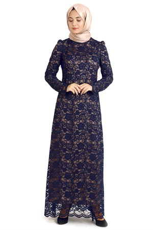 Dress - Lace - Full Lined - High Collar - Dark Navy Blue - TN33 - 3424009