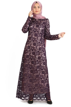 Dress - Lace - Full Lined - High Collar - Plum - TN33 - 3424009