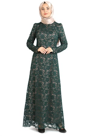 Dress - Lace - Full Lined - High Collar - Tobacco - Emerald Green - TN33 - 3424009