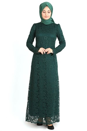 Dress - Lace - Full Lined - High Collar - Emerald Green - TN33 - 3424009