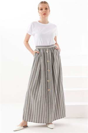 Skirt - Poly Cotton - Unlined - Grey - TN330