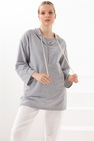 Tunic - Two Thread Cotton - Unlined - Crew Neck - Grey - TN332