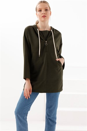 Tunic - Two Thread Cotton - Unlined - Crew Neck - Khaki - TN332
