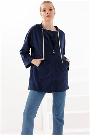 Tunic - Two Thread Cotton - Unlined - Crew Neck - Navy Dark Blue - TN332