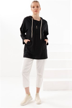 Tunic - Two Thread Cotton - Unlined - Crew Neck - Black - TN332