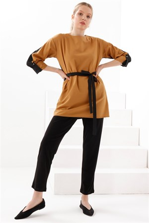 Two - Color - Tunic - Camel - Black - TN340