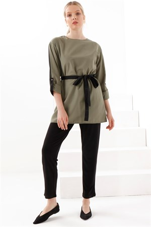 Two - Color - Tunic - Khaki - Black - TN340