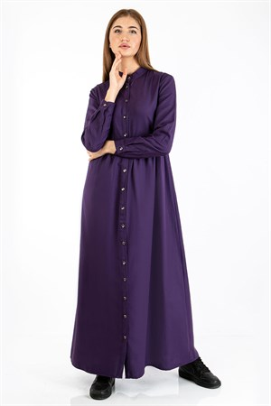 Dress - Unlined - Shirt Collar - Purple - TN343 - 5414043