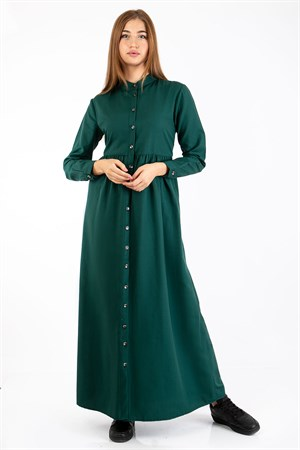 Dress - Unlined - Shirt Collar - Emerald - TN343 - 5414043