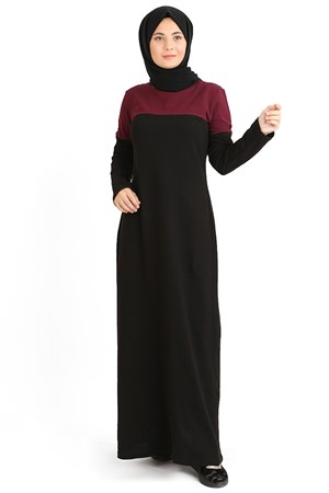 Dress - Oxfort Fabric - Unlined - Crew Neck - Black/Claret Red - TN48 - 4684005