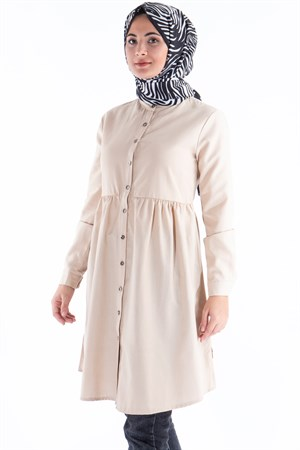 Tunic - Cotton - Unlined - Crew Neck - Beige - TN62 - 5414018