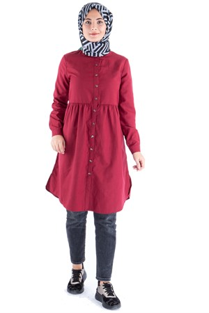 Tunic - Cotton - Unlined - Crew Neck - Claret Red - TN62 - 5414018